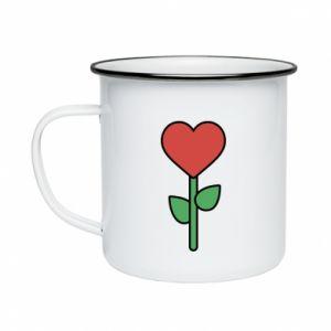 Kubek emaliowane Kwiat - serca