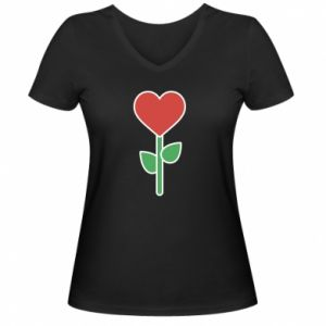 Damska koszulka V-neck Kwiat - serca