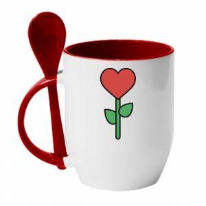 Kubek z ceramiczną łyżeczką Kwiat - serca