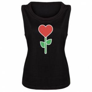 Damska koszulka bez rękawów Kwiat - serca