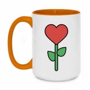 Kubek dwukolorowy 450ml Kwiat - serca