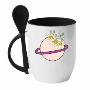 Kubek z ceramiczną łyżeczką Kwiaty na naszej planecie
