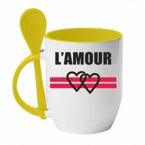 Kubek z ceramiczną łyżeczką L'amour