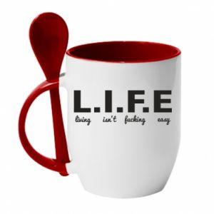 Kubek z ceramiczną łyżeczką L.I.F.E