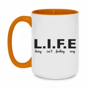 Two-toned mug 450ml L.I.F.E