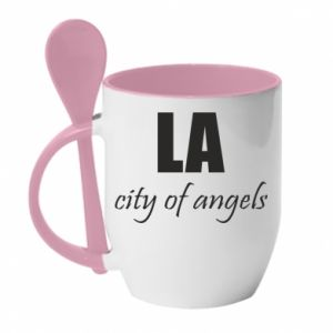 Mug with ceramic spoon LA city of angels