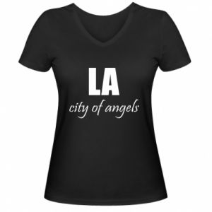 Women's V-neck t-shirt LA city of angels - PrintSalon