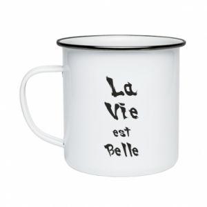 Kubek emaliowany La vie est belle
