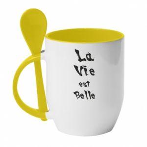 Kubek z ceramiczną łyżeczką La vie est belle