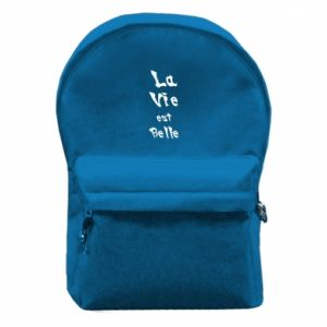 Backpack with front pocket La vie est belle