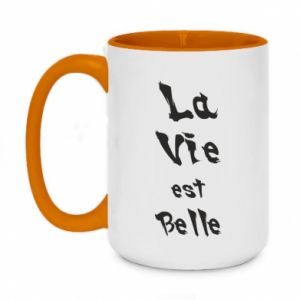Two-toned mug 450ml La vie est belle