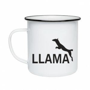 Kubek emaliowany Lama is jumping