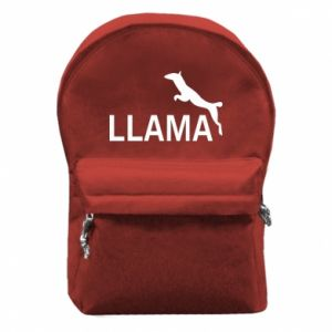 Backpack with front pocket Lama is jumping
