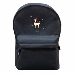 Backpack with front pocket Llama in a hat