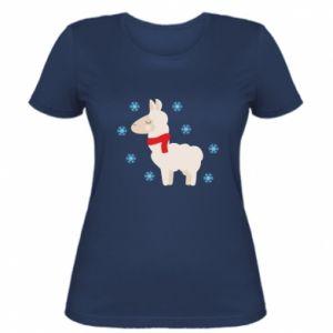 Women's t-shirt Llama in the snow