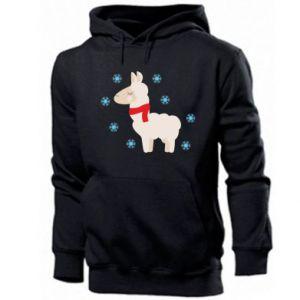 Men's hoodie Llama in the snow