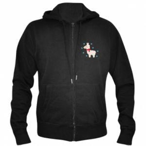 Men's zip up hoodie Llama in the snow