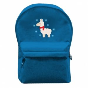 Backpack with front pocket Llama in the snow