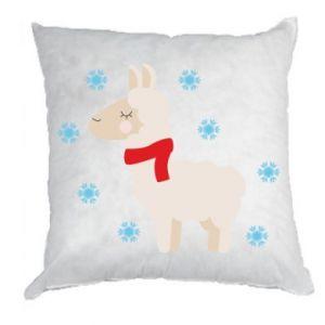 Poduszka Lama w śniegu