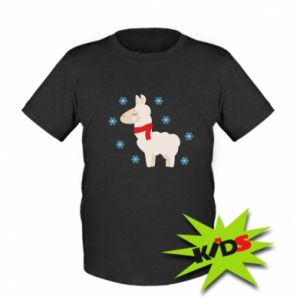 Kids T-shirt Llama in the snow