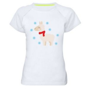 Women's sports t-shirt Llama in the snow