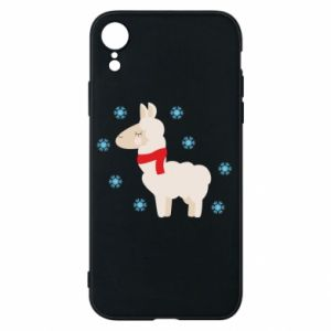 Phone case for iPhone XR Llama in the snow