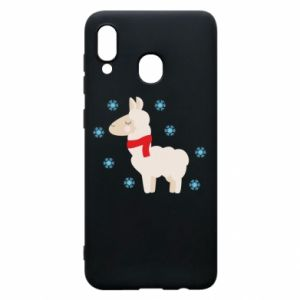 Phone case for Samsung A20 Llama in the snow