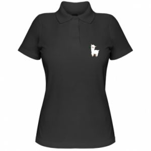 Women's Polo shirt Lamb with a sprig - PrintSalon