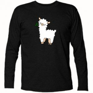 Long Sleeve T-shirt Lamb with a sprig - PrintSalon