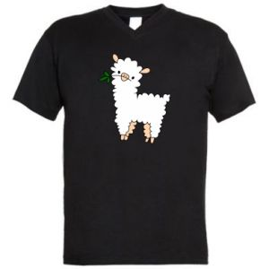 Men's V-neck t-shirt Lamb with a sprig - PrintSalon