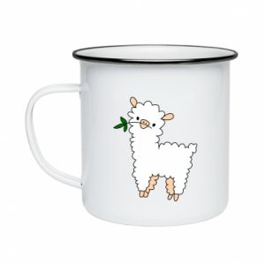 Enameled mug Lamb with a sprig - PrintSalon