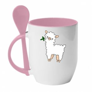 Mug with ceramic spoon Lamb with a sprig - PrintSalon