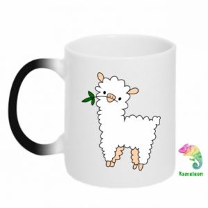 Chameleon mugs Lamb with a sprig