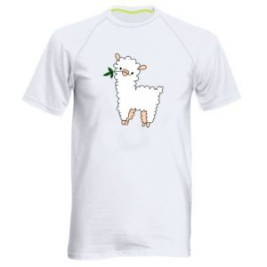 Men's sports t-shirt Lamb with a sprig - PrintSalon