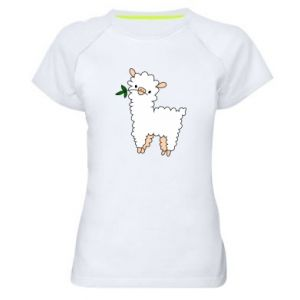 Women's sports t-shirt Lamb with a sprig - PrintSalon