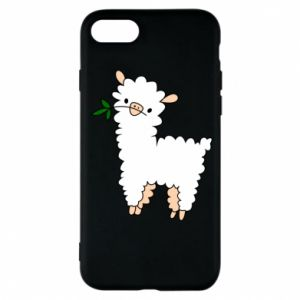 Phone case for iPhone 8 Lamb with a sprig - PrintSalon