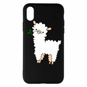 Phone case for iPhone X/Xs Lamb with a sprig - PrintSalon