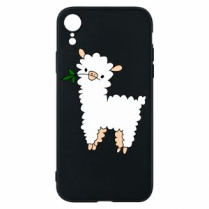 Phone case for iPhone XR Lamb with a sprig - PrintSalon