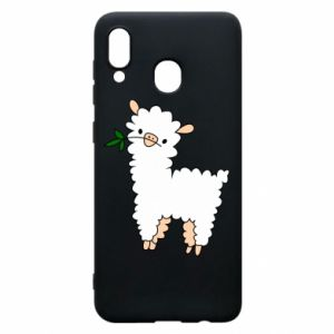 Phone case for Samsung A20 Lamb with a sprig - PrintSalon