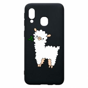 Phone case for Samsung A40 Lamb with a sprig - PrintSalon