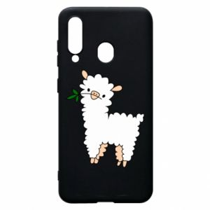 Phone case for Samsung A60 Lamb with a sprig - PrintSalon