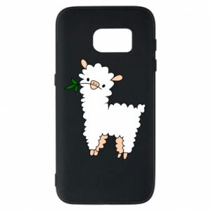 Phone case for Samsung S7 Lamb with a sprig - PrintSalon