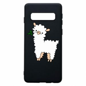 Phone case for Samsung S10 Lamb with a sprig - PrintSalon