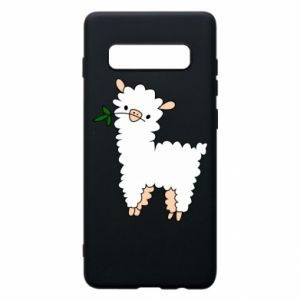 Phone case for Samsung S10+ Lamb with a sprig - PrintSalon