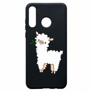 Phone case for Huawei P30 Lite Lamb with a sprig - PrintSalon