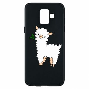 Phone case for Samsung A6 2018 Lamb with a sprig - PrintSalon