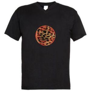 Męska koszulka V-neck Lampart skóra - PrintSalon