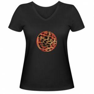 Damska koszulka V-neck Lampart skóra - PrintSalon