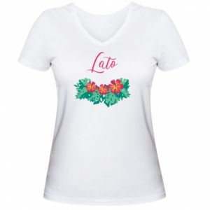 Damska koszulka V-neck Lato - PrintSalon