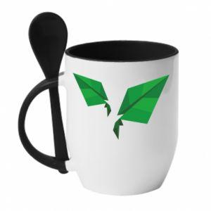 Mug with ceramic spoon Leaves abstraction - PrintSalon